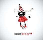 Rolig flicka för lycklig födelsedag vektor illustrationer