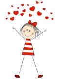 Rolig flicka med hjärtor stock illustrationer
