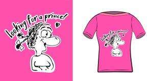 Rolig flicka med inskriften som söker efter en prins Klotterbokstäver för utskrift på kläder, rånar, affischer En ensam flicka i stock illustrationer