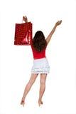 rolig flicka som har shopping Royaltyfri Fotografi