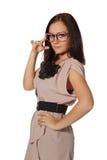rolig flickapink för glasögon Arkivbild