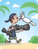 Rolig fotograf och nyfiken papegoja royaltyfri illustrationer