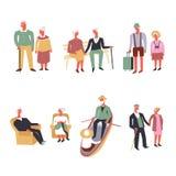 Rolig fritid för vektor gamla människor och sportaktivitet vektor illustrationer