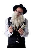 Rolig gammal jude med isolerade sedlar Royaltyfria Bilder