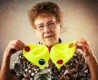 Rolig gammal kvinna Fotografering för Bildbyråer
