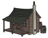 Rolig gammal träkabin stock illustrationer