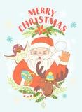 Rolig glad julkort med Santa Claus den hållande gåvaasken, pe vektor illustrationer