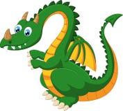 Rolig grön drake för tecknad film Royaltyfria Foton