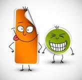 rolig grön orange etikettsvektor royaltyfri illustrationer