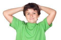 rolig grön skjorta t för barn Arkivfoto