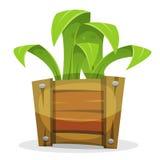 Rolig grön växt i den Wood hinken stock illustrationer