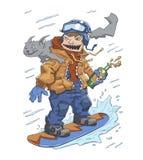Rolig grabb med en flaska av fyllan och en katt på hans skuldraridning på en snowboard Monster av snowboardingen, galen ryttare stock illustrationer