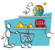 Rolig grabb som köper online-lopp Arkivbild