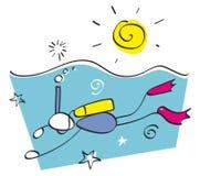 rolig grabb som snorkeling Arkivfoto