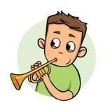 Rolig grabb som spelar trumpeten Plan designsymbol Plan vektorillustration bakgrund isolerad white vektor illustrationer