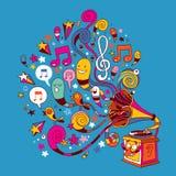Rolig grammofon stock illustrationer