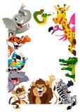Rolig grupp av djungeldjur royaltyfri illustrationer