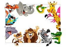 Rolig grupp av djungeldjur vektor illustrationer