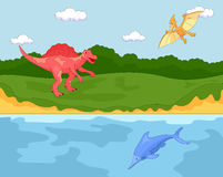 Rolig gullig flygödla, ichthyosaur och spinosaurus bilda Royaltyfri Bild