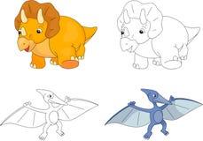 Rolig gullig flygödla och triceratops Arkivfoton