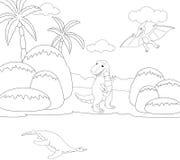 Rolig gullig flygödla, pliosaur och tyrannosarie bilda Arkivfoto