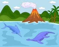Rolig gullig ichthyosaurus och pliosaurus Fotografering för Bildbyråer