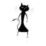 Rolig gullig illustration för svart katt Royaltyfri Bild
