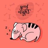 Rolig gullig sova hund med citationstecken för bra natt, barnsligt tryck för handklotter Göra perfekt för t-skjortan, dräkt, kort vektor illustrationer