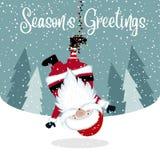 Rolig hängande jultomten vektor illustrationer