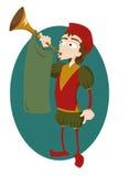 Rolig härold med trumpet royaltyfri illustrationer