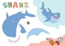 Rolig hajpappersmodell Litet hem- hantverkprojekt, DIY-papperslek Klipp ut och limma Utklipp för barn vektor stock illustrationer