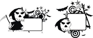 Rolig halloween för dödskördemaskintecknad film kopia space0 stock illustrationer