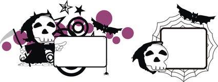 Rolig halloween för dödskördemaskintecknad film kopia space01 stock illustrationer