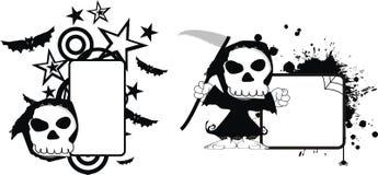 Rolig halloween för dödskördemaskintecknad film kopia space3 stock illustrationer