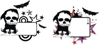 Rolig halloween för dödskördemaskintecknad film kopia space4 vektor illustrationer