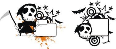 Rolig halloween för dödskördemaskintecknad film kopia space5 stock illustrationer