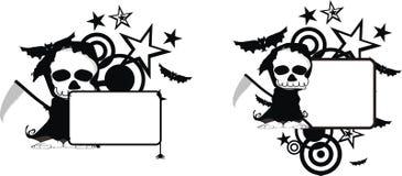 Rolig halloween för dödskördemaskintecknad film kopia space7 stock illustrationer