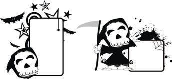Rolig halloween för dödskördemaskintecknad film kopia space8 stock illustrationer