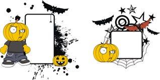 Rolig halloween för tecknad film för pumpaklädunge kopia space1 stock illustrationer