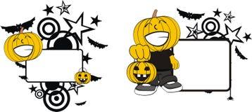 Rolig halloween för tecknad film för pumpaklädunge kopia space2 vektor illustrationer