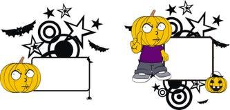 Rolig halloween för tecknad film för pumpaklädunge kopia space3 royaltyfri illustrationer