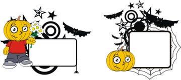 Rolig halloween för tecknad film för pumpaklädunge kopia space4 stock illustrationer