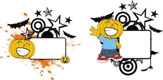Rolig halloween för tecknad film för pumpaklädunge kopia space5 royaltyfri illustrationer