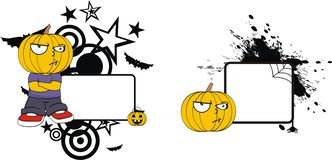 Rolig halloween för tecknad film för pumpaklädunge kopia space6 stock illustrationer