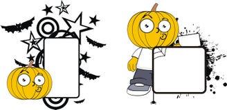 Rolig halloween för tecknad film för pumpaklädunge kopia space7 vektor illustrationer