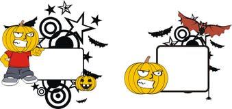 Rolig halloween för tecknad film för pumpaklädunge kopia space8 royaltyfri illustrationer
