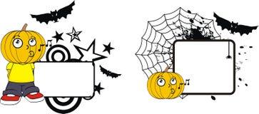 Rolig halloween för tecknad film för pumpaklädunge kopia space9 vektor illustrationer
