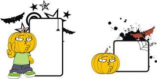 Rolig halloween för tecknad film för pumpaklädunge kopia space0 stock illustrationer