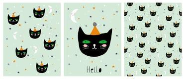 Rolig hand drog svarta Cat Vector Illustration Set royaltyfri illustrationer