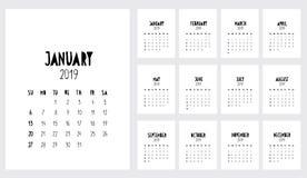Rolig handskriven vektorkalender 2019 år Kalender för månadstidning 2019 stock illustrationer